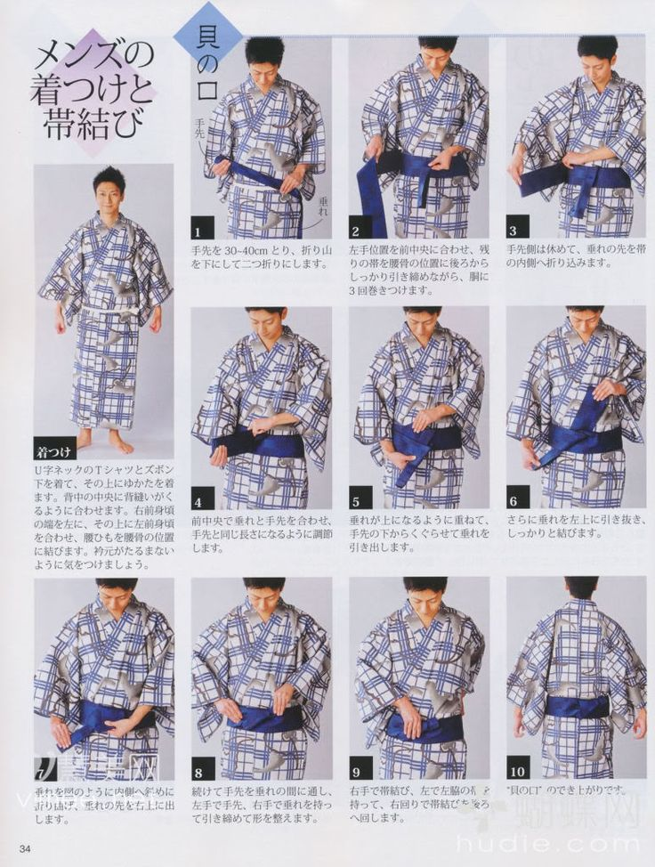 How to tie men's yukata obi