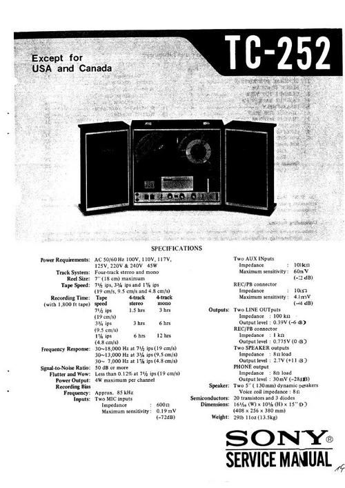 Sony TC-252 reel to reel tape recorder Service Manual 100 per cent satisfaction guaranteed  100 DOWNLOAD