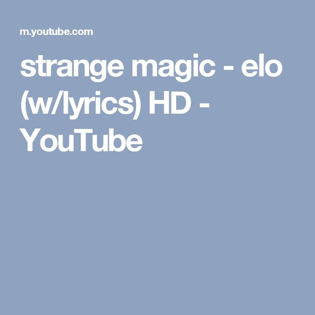 strange magic - elo (w/lyrics) HD - YouTube