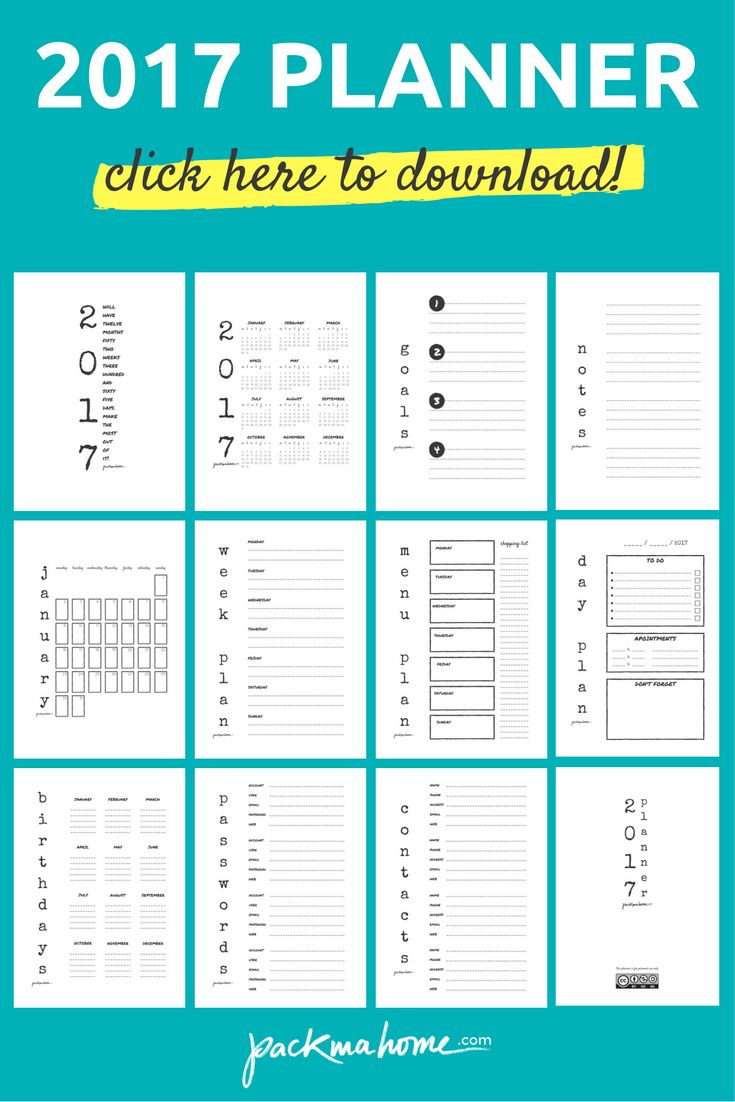 2017 FREE PLANNER: DOWNLOAD PDF PRINTABLES - packmahome