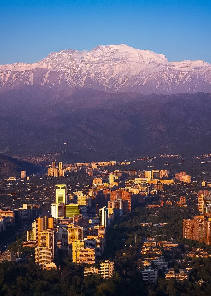 View of Santiago, Chile from the top of Sky Costanera at the Costanera Center