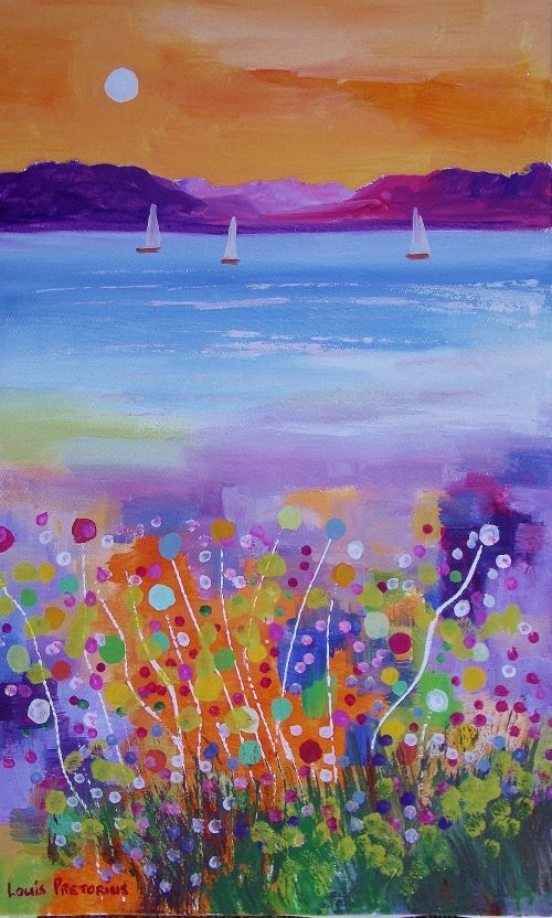 Buy MOONFLOWERS WITH THREE SAILBOATS:(oil on stretched canvas: 500mm x 300mm x 20mm )for R760.00