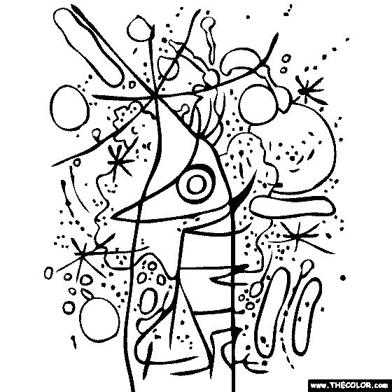 Joan Miro - Singing Fish Coloring Page