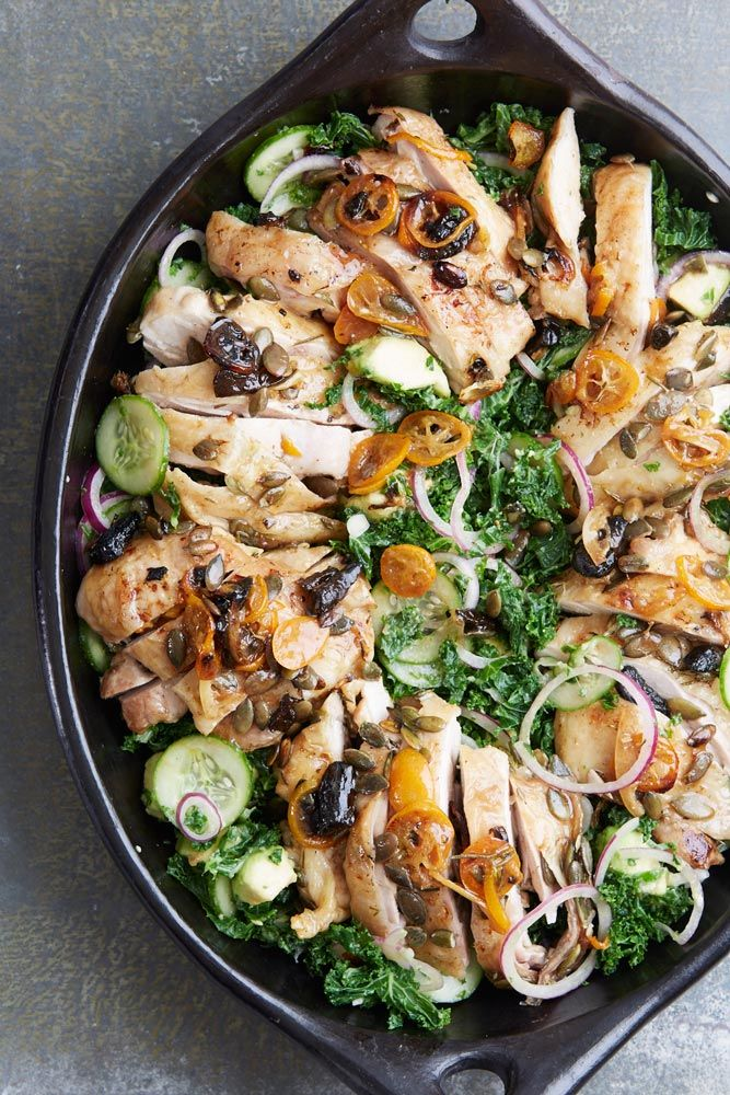 Roast chicken, kale and avocado salad, an easy light dinner party recipe from www.redonline.co.uk