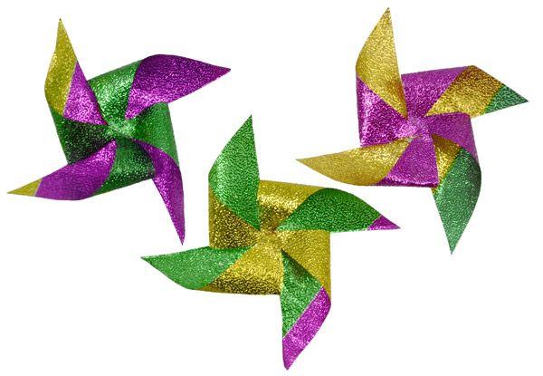 DIY Mardi Gras pinwheels