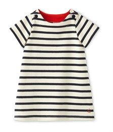 Marinegestreept jurkje voor babymeisjes beige Coquille / blauw Smoking - Petit Bateau