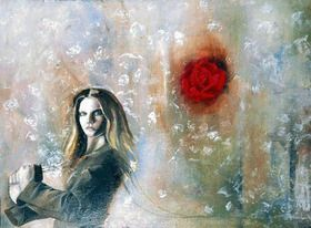 I love Italian suits, painting drapery, roses and snow. Turning the Snow Rose  102CM X 77CM Romany Steele Oil on Canvas $2860