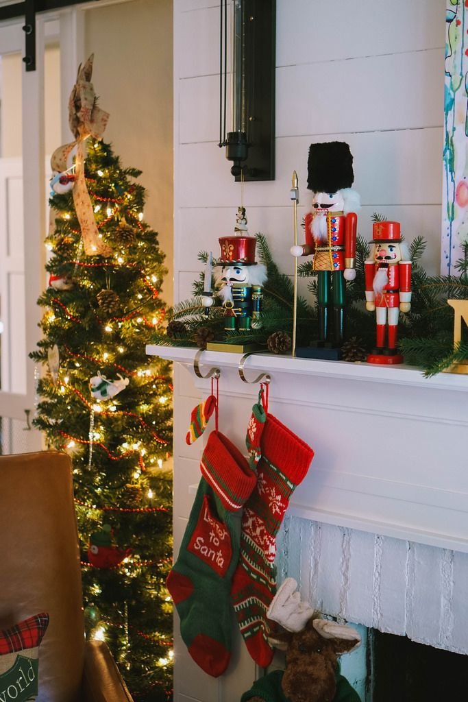 Slim Christmas Tree | Nutcrackers Mantle |Traditional Modern |Transitional Christmas Living Room Decor | Holiday Decorations