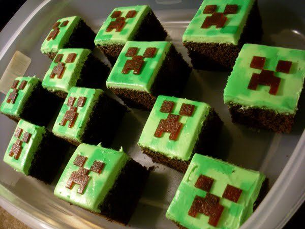 Minecraft Creeper cakes...like that they're precut, serve with pre dished out ice cream
