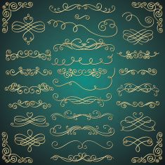 Vector Golden Luxury Glossy Vintage Swirls Collection vector art illustration
