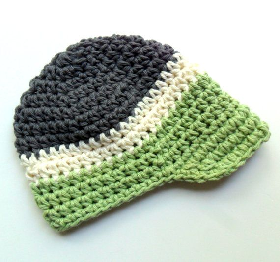 Boys Crochet Hat, Baby Boy Crochet Hat, Visor Hat, Toddler Boys Hat,  Charcoal, cream and sage green, MADE TO ORDER