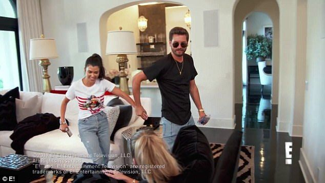 The conversation takes another turn when Scott quips to Kourtney: 'When do you think we're going to get married by the way? Like 40?' before they leave the room hand in hand