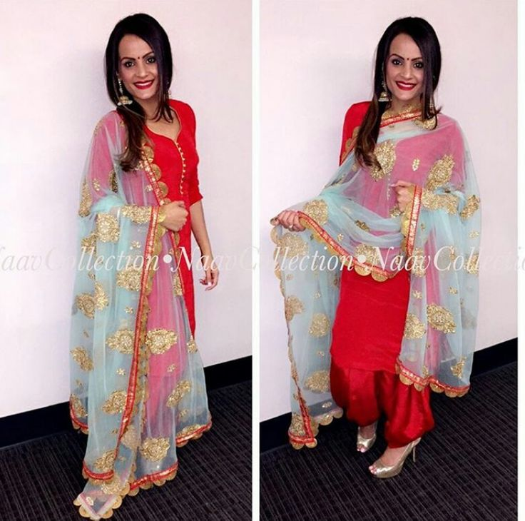 Punjabi suit... Combination can be changed like with red suit green dupatta or pink dupatta with orange borders for brighter look