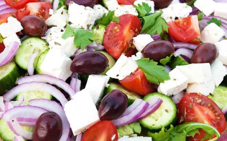 Authentic Greek salads call for just the freshest, ripest ingredients, and no lettuce. See the recipe for Vilage Greek Salad
