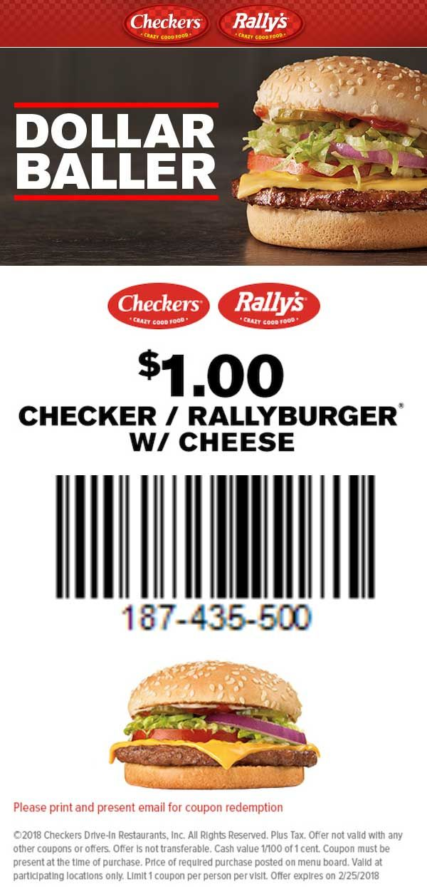 image about Checkers Coupons Printable identified as Pinned February 20th: $1 cheeseburger at Rallys #Checkers