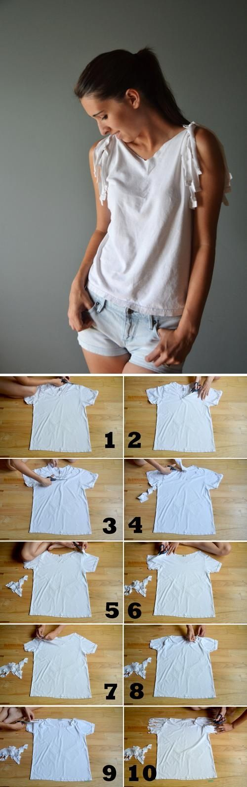 DIY T- Shirt Redesign : shredded / laser-cutting (cut out) 改造 T 恤的好點子第二集 01