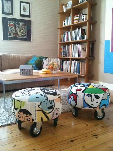 """Materials: Ikea stools """"Haparanda"""", Ikea fabrics and industrial wheels Description: The Ikea stools almost went in the trash after 15 years of basement storage, but with some new fabric (from IKEA's collaboration with design students at Beckmans school) and a few large industrial wheels – they immediately feel like 2012 ~ Pierre Ohlson, Stockholm/Avesta More [&hellip"""