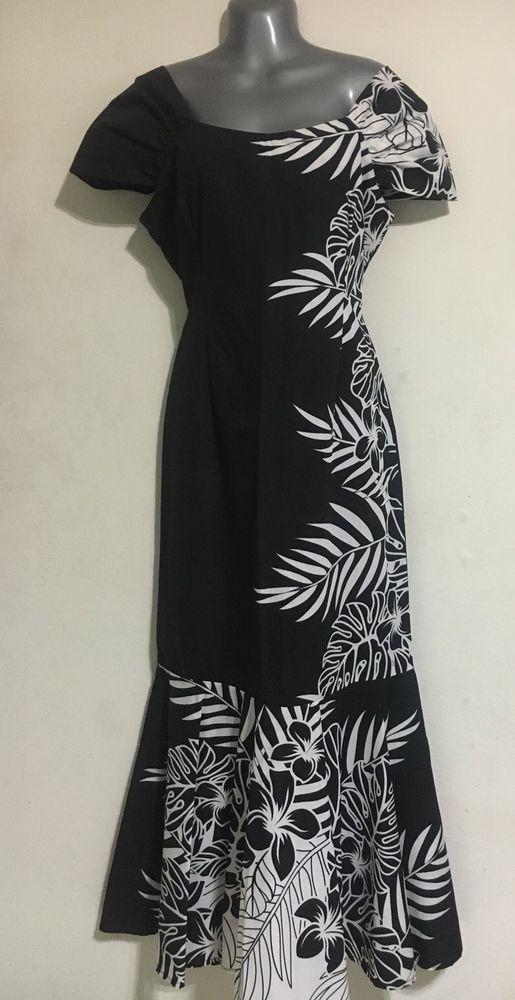 Hawaiian MuuMuu Dress - Small - Black White Long Floral Hawaii MuMu New…