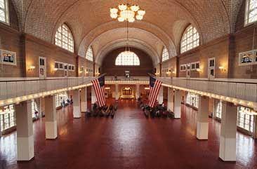 interior shot of Ellis Island
