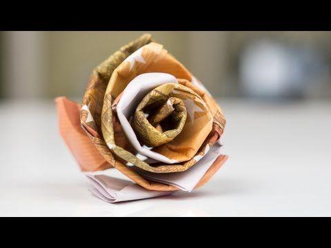 Geldgeschenk Idee Hochzeit – Rose aus Geld basteln