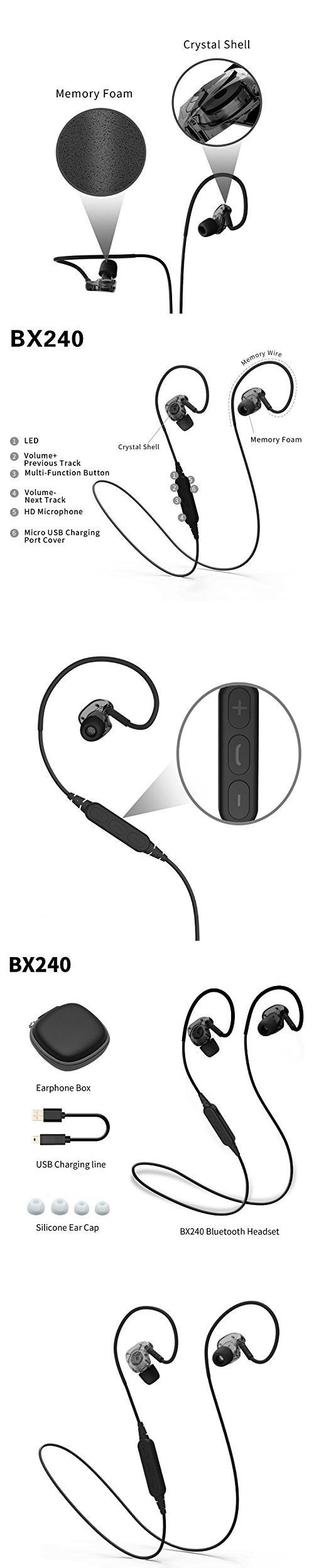 XIONG Wireless Bluetooth 4.1 Fitness Headphones Stereo Water Proof Headphones Noise Cancelling Earbuds for running,Gym (Black)