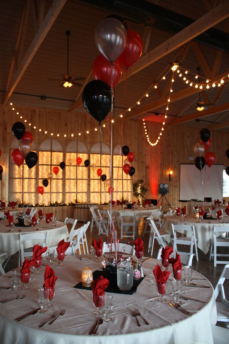 Hollywood Themed Prom with black, red and silver balloons at Maneeley's Lodge in South Windsor, CT.