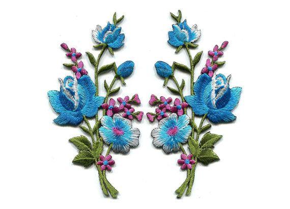 Geborduurde bloem Patch Baby blauw roze rozen paar bloemen