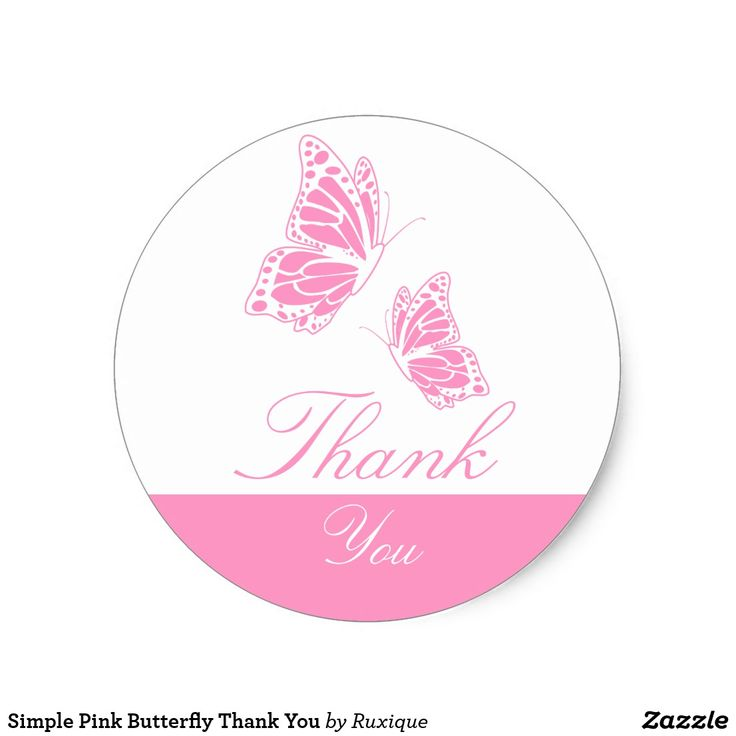 Simple Pink Butterfly Thank You Classic Round Sticker #Simple #Pink #Butterfly #ThankYou #Classic #Round #Sticker #butterflysticker #roundsticker