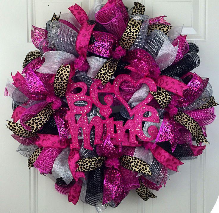 Cheetah Valentine's Wreath, Cheetah Deco Mesh Wreath, Valentines Wreath, Be Mine Valentine's Wreath, Deco Mesh Cheetah Wreath, Pink Cheetah by RhondasCre8iveCorner on Etsy