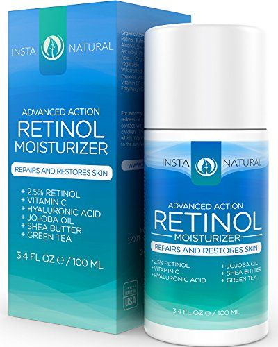 Retinol Cream 2.5% Moisturizer for Face & Eyes - Night or Day Cream for Deep Wrinkles - Natural Anti Aging Facial Lotion With Vitamin C, Hyaluronic Acid & Organic Jojoba Oil - InstaNatural - 3.4 OZ | Amazon Hot Sales