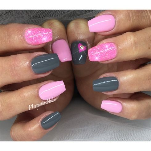 Pink And Grey Nails  by MargaritasNailz from Nail Art Gallery