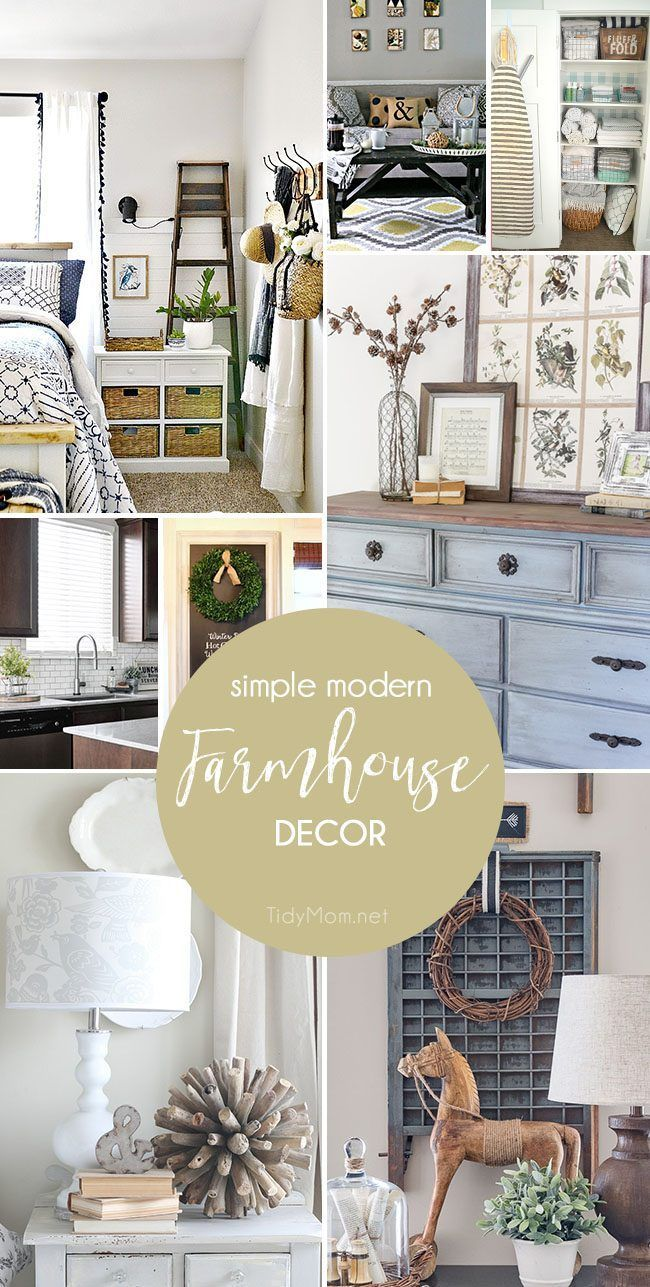 Simple Modern Farmhouse Decorating is more popular than ever, thanks to Chip and Joanna! This home decor style is charming, comforting, and warm - a classic design that changes a little through the years, but never get's old. Farmhouse Decor inspiration a