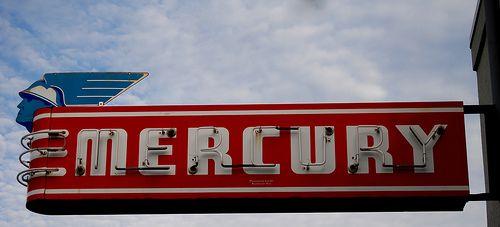 Vntg. neon Mercury  sign