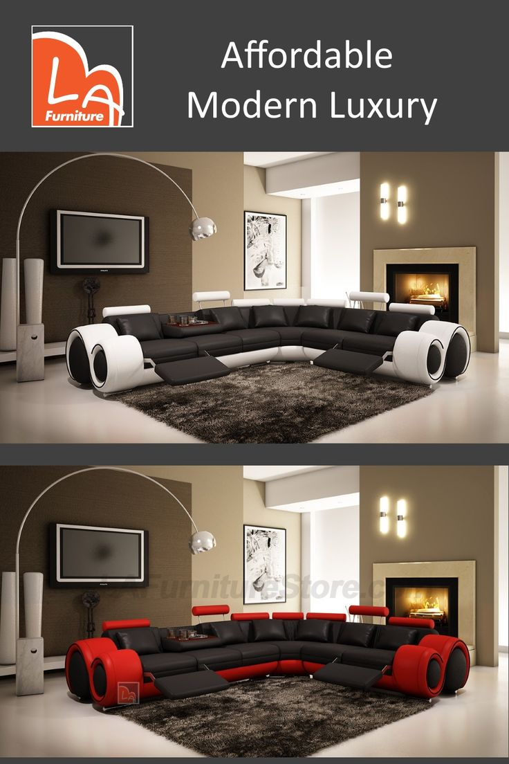 4087 Modern Leather Sectional Sofa with Recliner. Features: Modern Leather Sectional Sofa with adjustable footrests. Color Combinations of Black and Red, White and Black, and more. #modernleathersectional