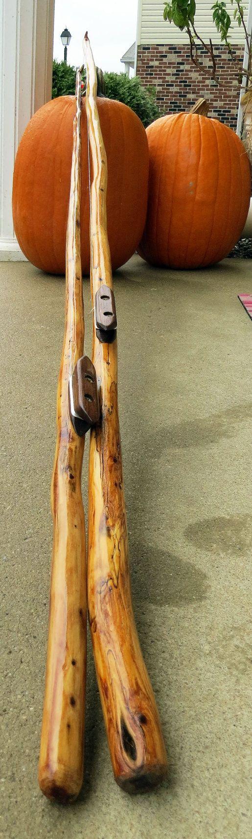 Handmade RUSTIC wooden fishing pole