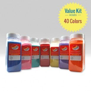40-COLOR ASSORTMENT OF SANDTASTIK­® CLASSIC COLORED SAND  Includes every Sandtastik brand Classic sand color available.   Sprinkle, layer and design with vibrant sparkling sand colors! Available in an inspiring spectrum of classic bright and light sand colors to accessorize all craft, décor and professional endeavours.    Contains all 40 Classic sand colors in 28 oz bottles.