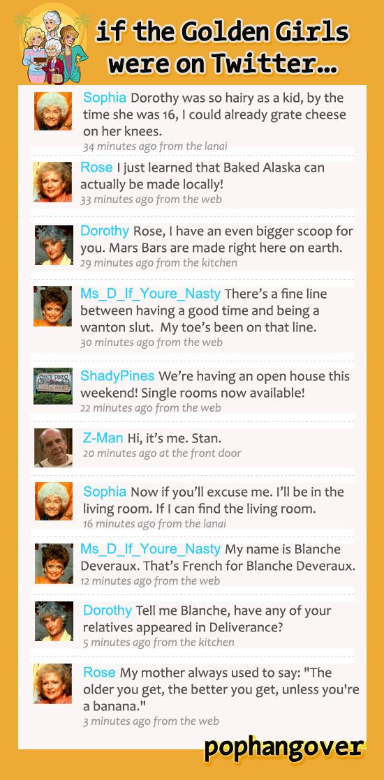 Pophangover: If the Golden Girls were on Twitter... Haha I loveeeee the golden girls this is great!