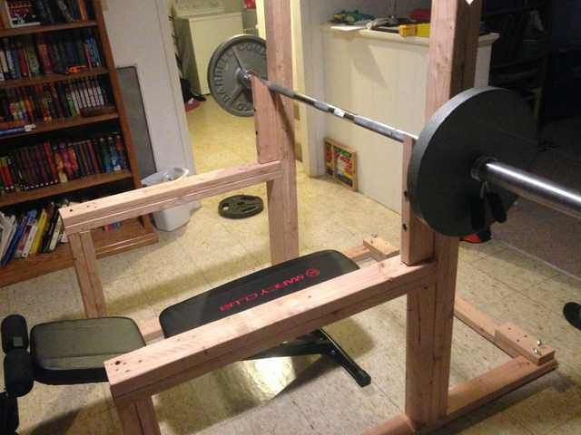 Diy Squat Rack And Bench Press Diy Home Gym Backyard Gym Diy Gym