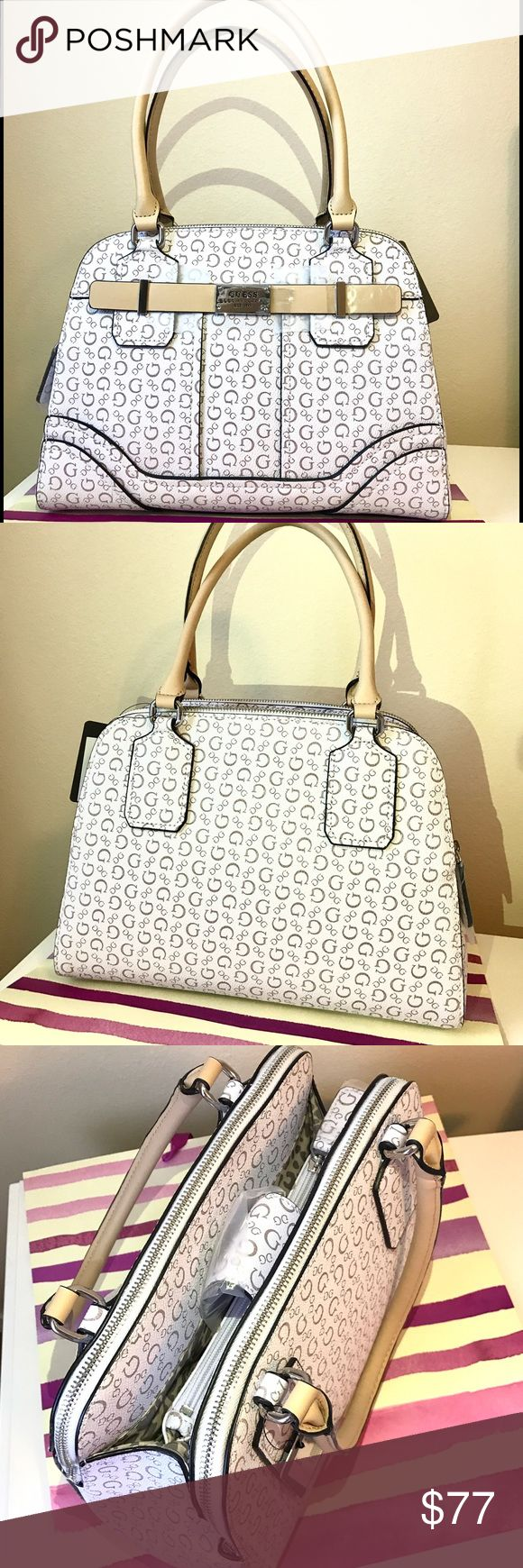 👜NWT Guess Women's Satchel (Guess Women's Bag)🌸 BRAND NEW!!! 100% AUTHENTIC! White Guess Women's Satchel with famous print. Very practical (has lots of pockets) and at the same time very glamorous and stylish!👜✨👌Has original Guess tags and packaging. For sure this bag will be one of your favorite!😉 Guess Bags Satchels