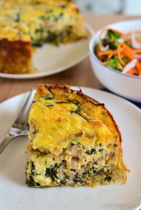 Slimming Eats Chicken and Spinach Quiche with a Hash Brown Crust - gluten free, Slimming World and Weight Watchers friendly