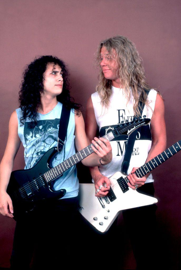 Kirk Hemmett And James Hetfield Of Metallica At The Poplar Creek Music Theater In Hoffman Estates Illinois Jul James Hetfield Metallica James Hetfield Guitar