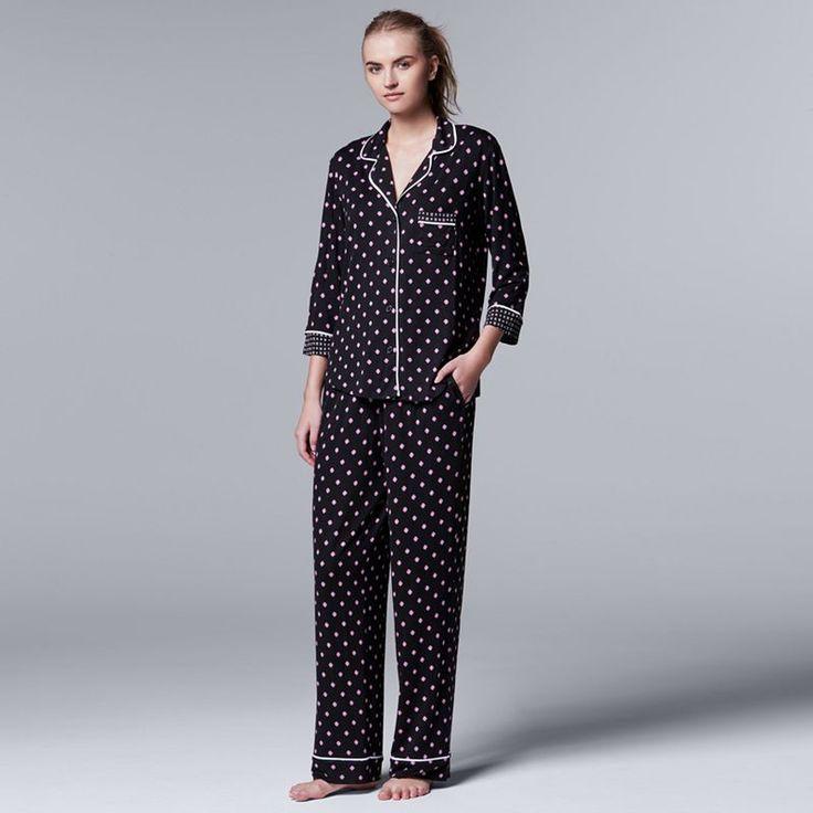Women's Simply Vera Vera Wang Pajamas: Evening Oasis Top & Pants PJ Set, Grey (Charcoal)