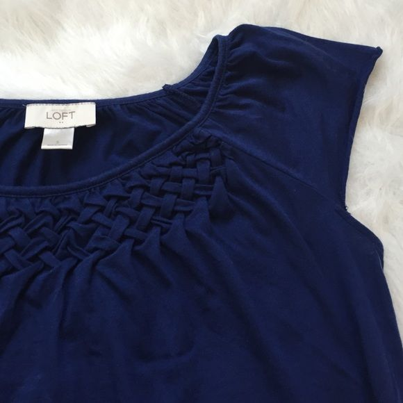 "LOFT cap sleeve cotton top Cobalt blue top w/cap sleeves and elastic waist. Pretty basket weave detail near collar. A great summer staple that pairs well w/shorts & white jeans. 24"" shoulder to hem. Purchased at a LOFT factory store by me. Gently worn. Tops"