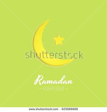 Ramadan Kareem greeting card design using paper cut style
