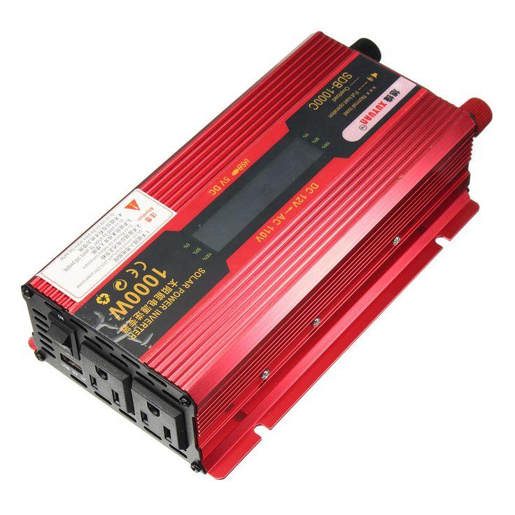 1000W Solar Power Inverter 12V to 110V LCD Power Converter Dual Socket