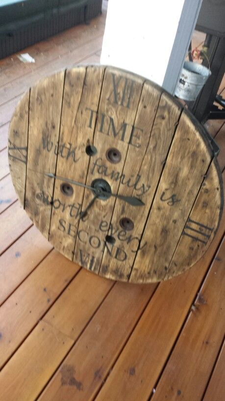 """30"""" Wood spool clock - I love this design / saying, but maybe a different shape (square?)"""