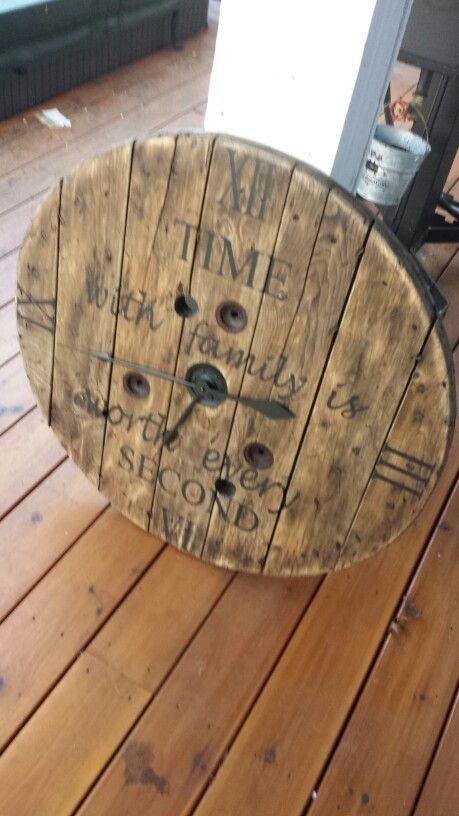 "30"" Wood spool clock                                                       …"