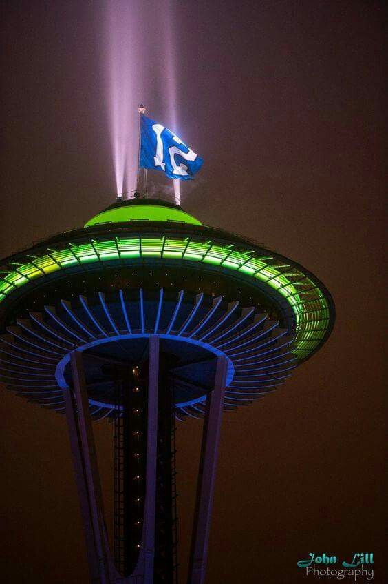 Space Needle - 12s flag and  Seahawk's colors