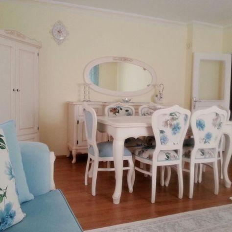 Çiçekli, Country, Mavi, Salon, Yemek Odası