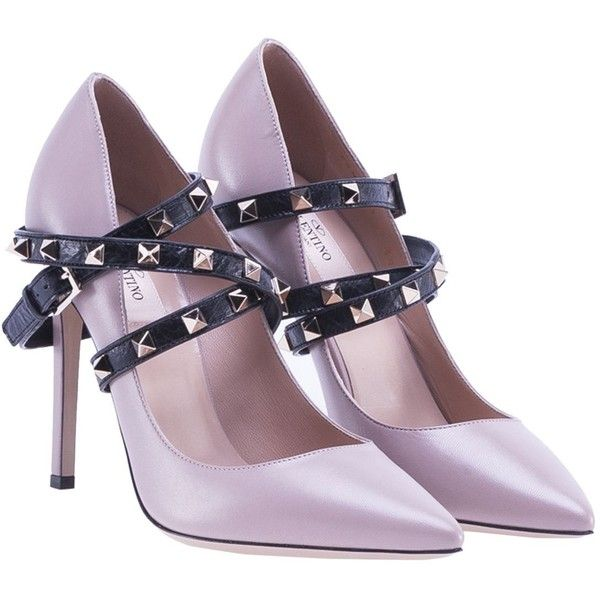 Garavani Studwrap Pump found on Polyvore featuring shoes, pumps, womenshoes, black studded pumps, studded shoes, black strap shoes, strappy shoes and mid-heel pumps